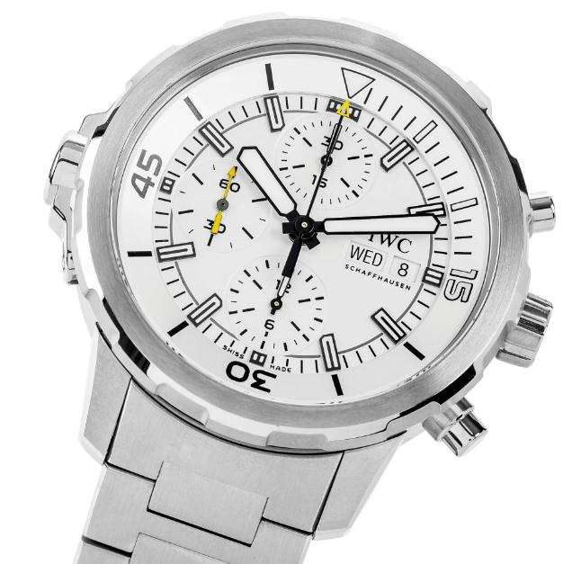 The stainless steel fake watches have white dials.