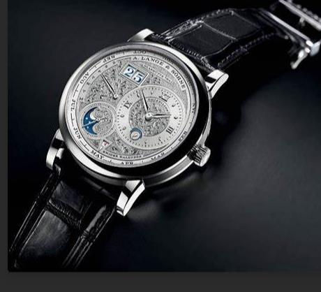 The luxury replica watches have black straps.